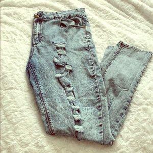 Denim - Acid-washed, distressed skinny jeans(plus size)